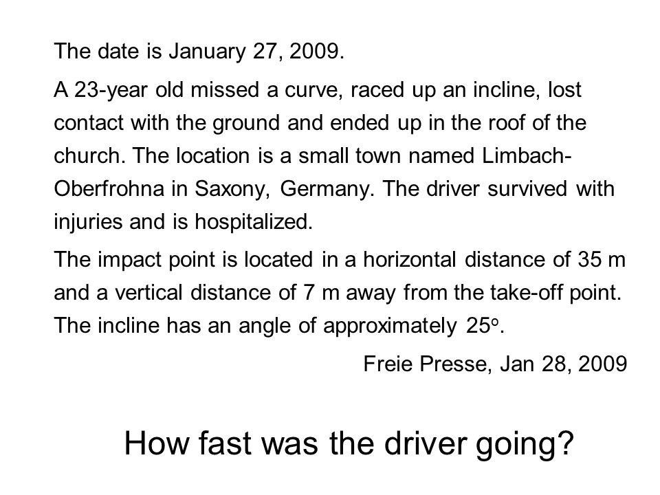 The date is January 27, 2009. A 23-year old missed a curve, raced up an incline, lost contact with the ground and ended up in the roof of the church.