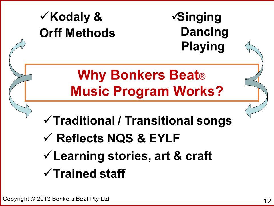 Copyright © 2013 Bonkers Beat Pty Ltd Why Bonkers Beat ® Music Program Works.