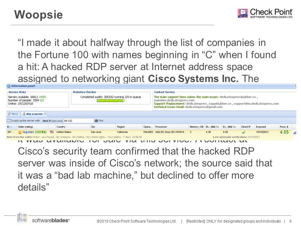 9 9©2010 Check Point Software Technologies Ltd.
