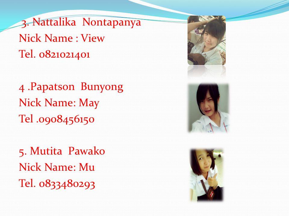 1. Alongkron Tiangda Nick Name: Jame Tel. 0895723368 2.