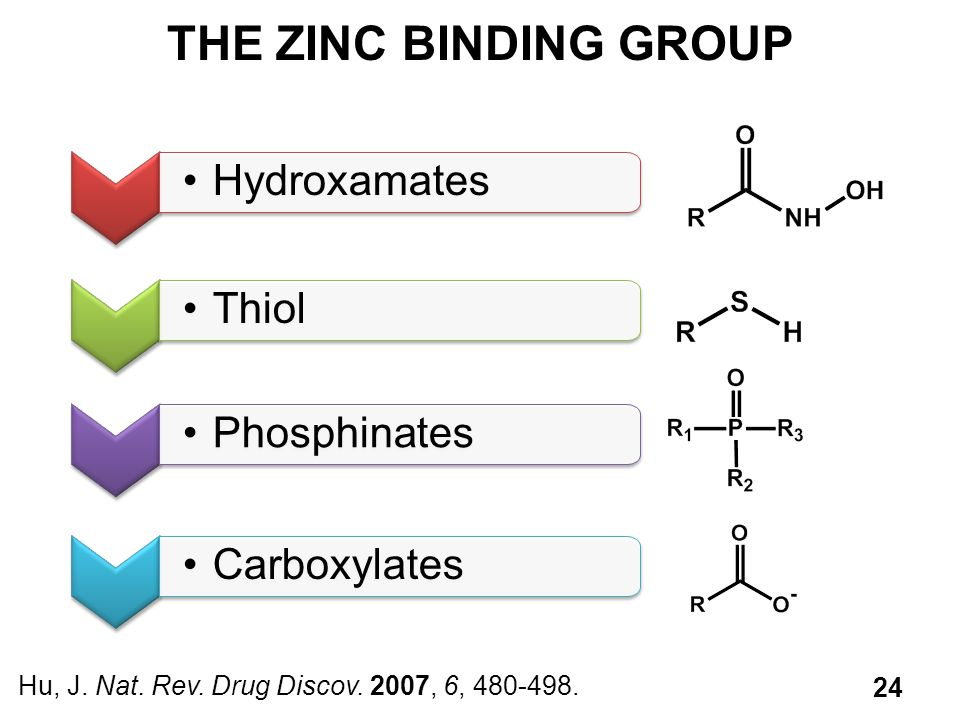 THE ZINC BINDING GROUP Hu, J.Nat. Rev. Drug Discov.