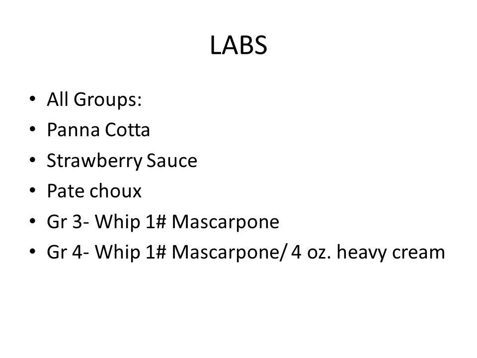 LABS All Groups: Panna Cotta Strawberry Sauce Pate choux Gr 3- Whip 1# Mascarpone Gr 4- Whip 1# Mascarpone/ 4 oz. heavy cream