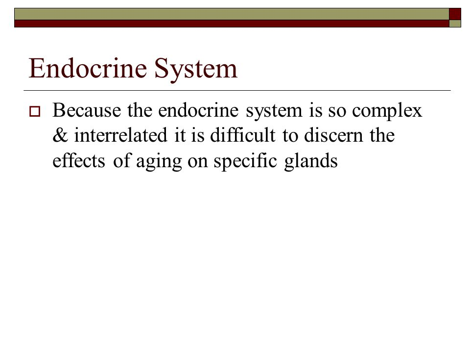 Endocrine System  Because the endocrine system is so complex & interrelated it is difficult to discern the effects of aging on specific glands