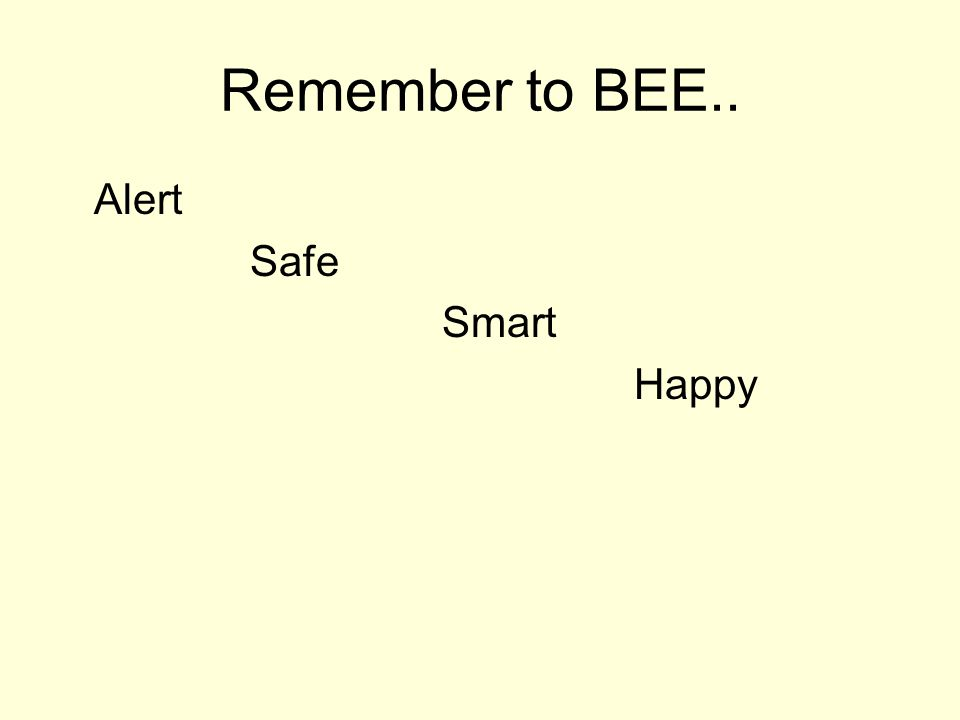 Remember to BEE.. Alert Safe Smart Happy