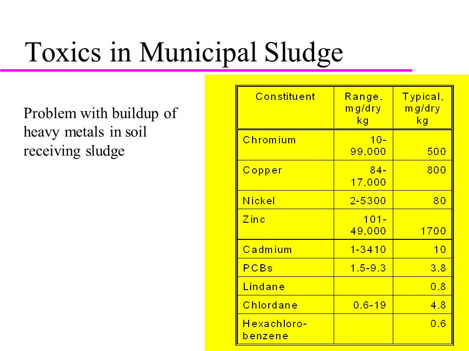 Toxics in Municipal Sludge Problem with buildup of heavy metals in soil receiving sludge