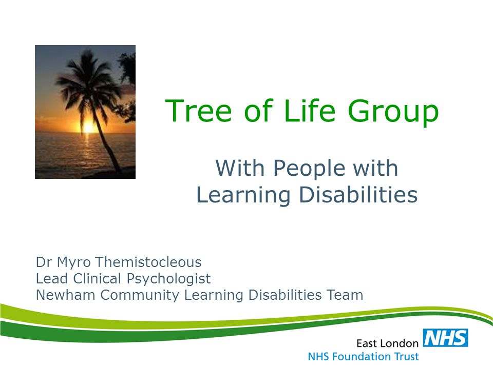 Tree of Life Group With People with Learning Disabilities Dr Myro Themistocleous Lead Clinical Psychologist Newham Community Learning Disabilities Tea