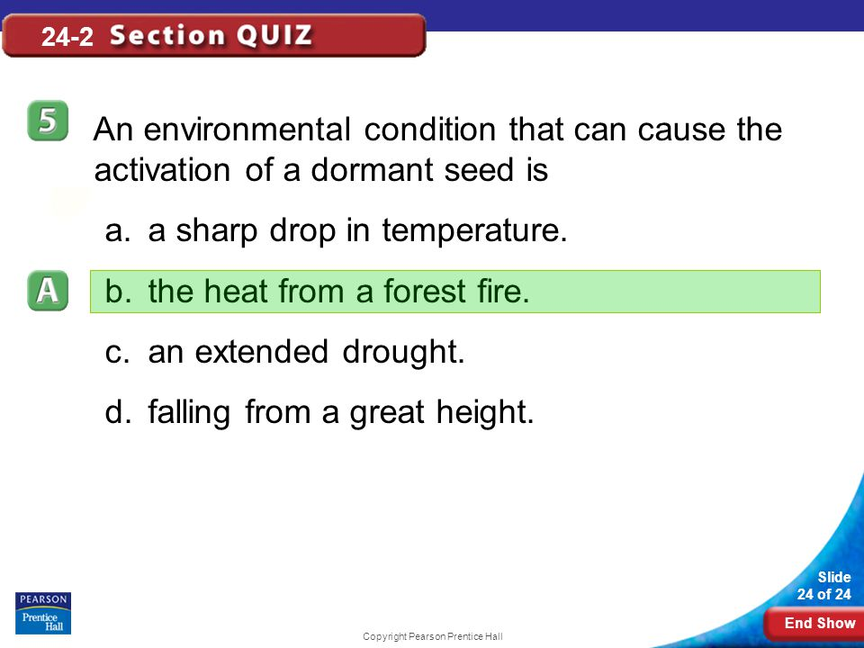 End Show Slide 24 of 24 Copyright Pearson Prentice Hall 24-2 An environmental condition that can cause the activation of a dormant seed is a.a sharp d