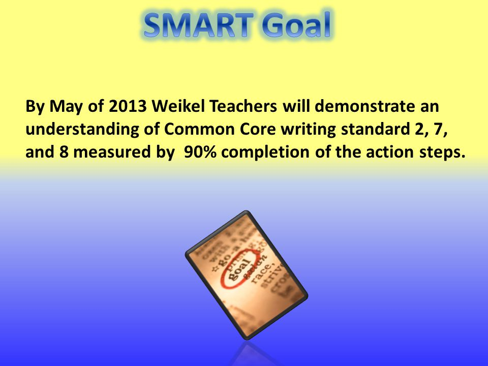 By May of 2013 Weikel Teachers will demonstrate an understanding of Common Core writing standard 2, 7, and 8 measured by 90% completion of the action steps.