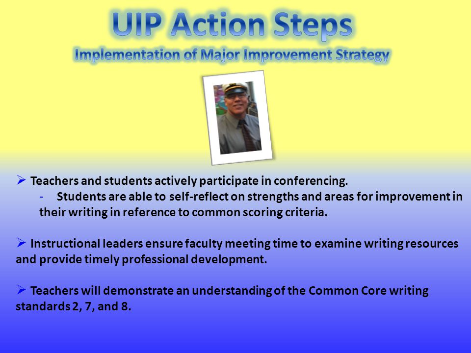  This is our 3 rd year that our goal is centered around professional development in writing in our building.
