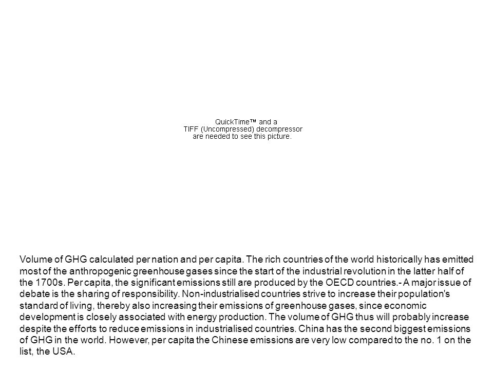 Volume of GHG calculated per nation and per capita. The rich countries of the world historically has emitted most of the anthropogenic greenhouse gase