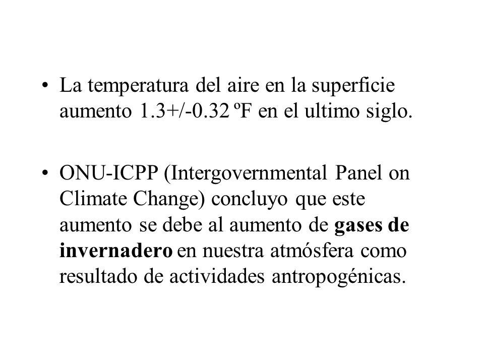 La temperatura del aire en la superficie aumento 1.3+/-0.32 ºF en el ultimo siglo. ONU-ICPP (Intergovernmental Panel on Climate Change) concluyo que e