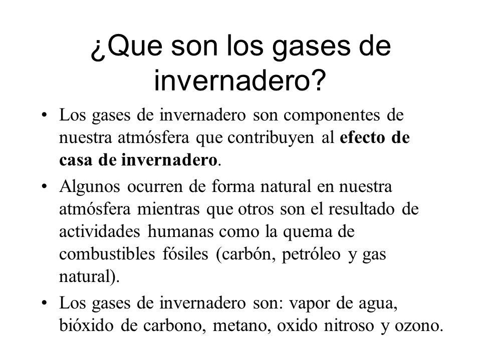 ¿Que son los gases de invernadero? Los gases de invernadero son componentes de nuestra atmósfera que contribuyen al efecto de casa de invernadero. Alg