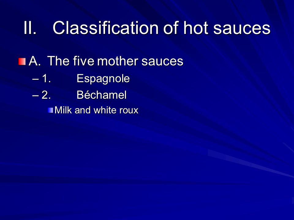 II.Classification of hot sauces A.The five mother sauces –1.Espagnole –2.Béchamel Milk and white roux