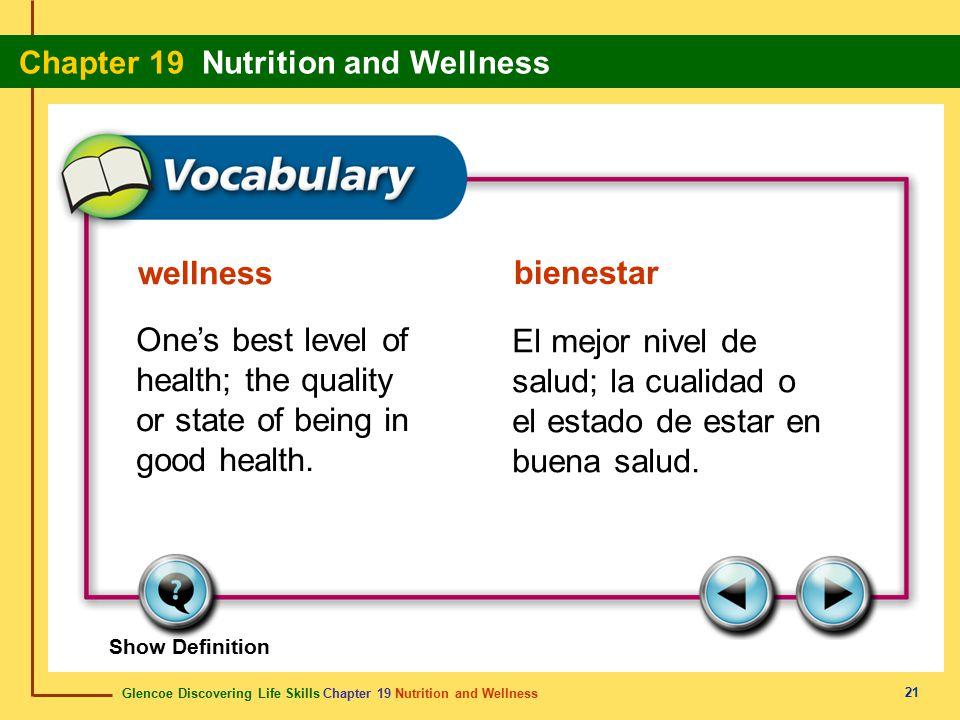 Glencoe Discovering Life Skills Chapter 19 Nutrition and Wellness Chapter 19 Nutrition and Wellness 21 wellness bienestar One's best level of health;