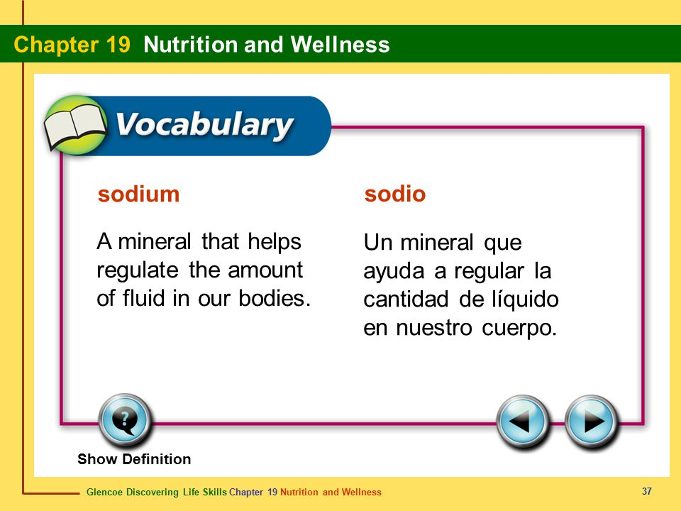 Glencoe Discovering Life Skills Chapter 19 Nutrition and Wellness Chapter 19 Nutrition and Wellness 37 sodium sodio A mineral that helps regulate the