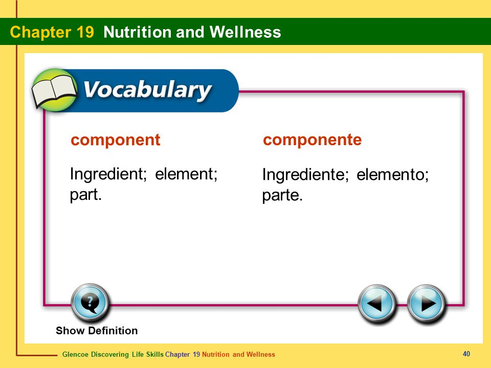 Glencoe Discovering Life Skills Chapter 19 Nutrition and Wellness Chapter 19 Nutrition and Wellness 40 component componente Ingredient; element; part.