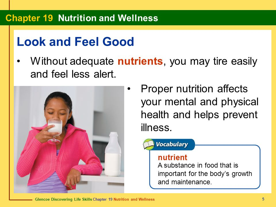 Glencoe Discovering Life Skills Chapter 19 Nutrition and Wellness Chapter 19 Nutrition and Wellness 5 Look and Feel Good Without adequate nutrients, y