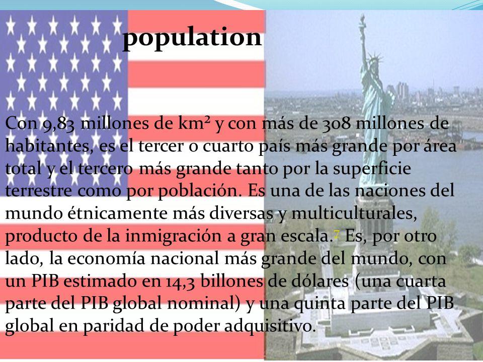 Con 9,83 millones de km² y con más de 308 millones de habitantes, es el tercer o cuarto país más grande por área total y el tercero más grande tanto por la superficie terrestre como por población.