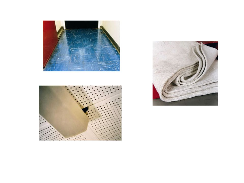 Asbestos containing vinyl floor tiles Perforated AIB ceiling tiles damaged around the light fitting Asbestos fire blanket