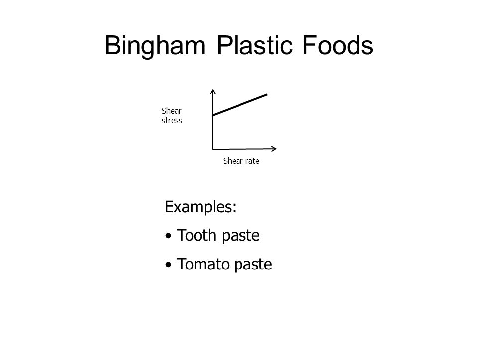 Bingham Plastic Foods Shear stress Shear rate Examples: Tooth paste Tomato paste