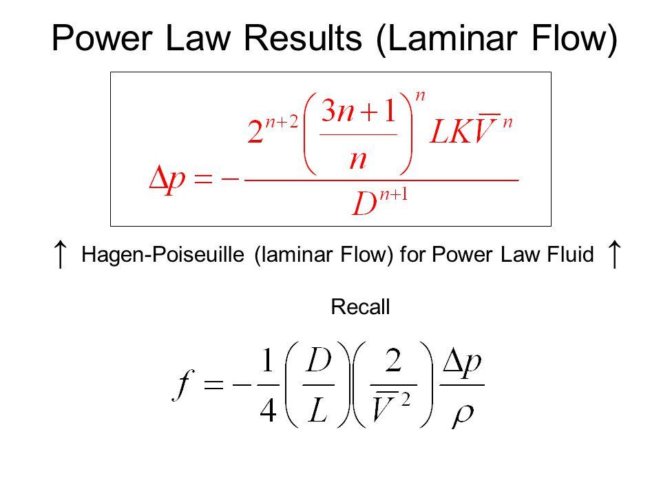 Power Law Results (Laminar Flow) ↑ Hagen-Poiseuille (laminar Flow) for Power Law Fluid ↑ Recall