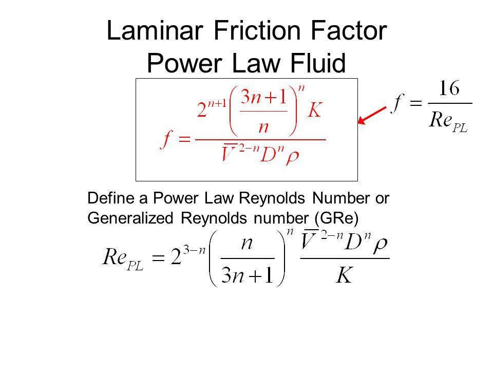 Laminar Friction Factor Power Law Fluid Define a Power Law Reynolds Number or Generalized Reynolds number (GRe)