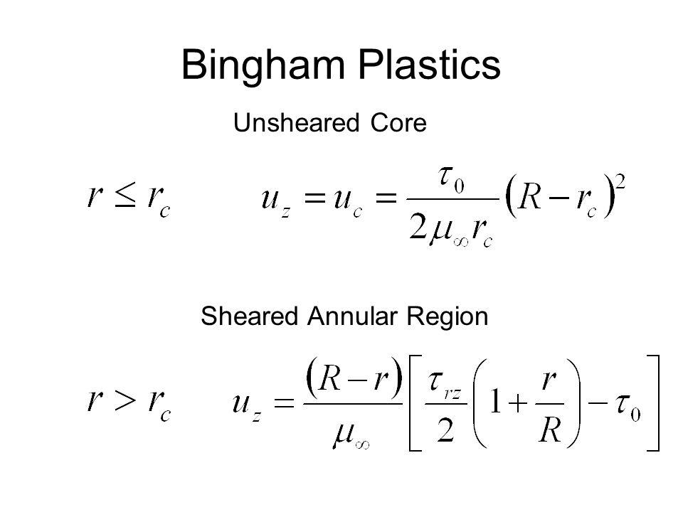 Bingham Plastics Unsheared Core Sheared Annular Region
