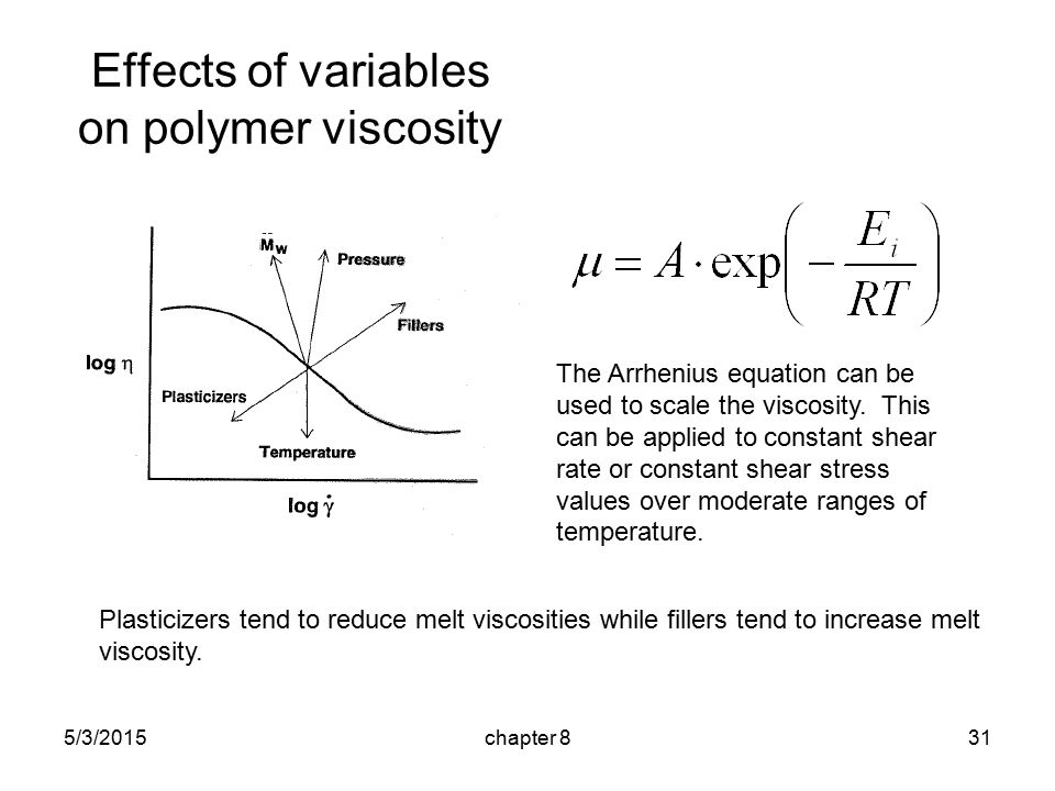 5/3/2015chapter 831 Effects of variables on polymer viscosity The Arrhenius equation can be used to scale the viscosity.