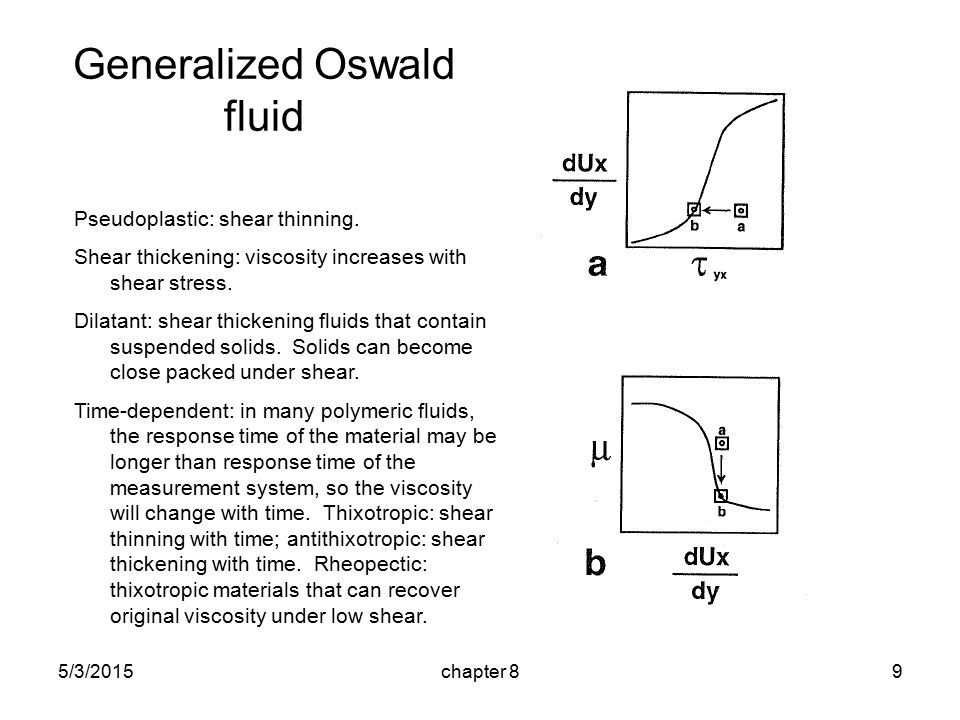 5/3/2015chapter 89 Generalized Oswald fluid Pseudoplastic: shear thinning.