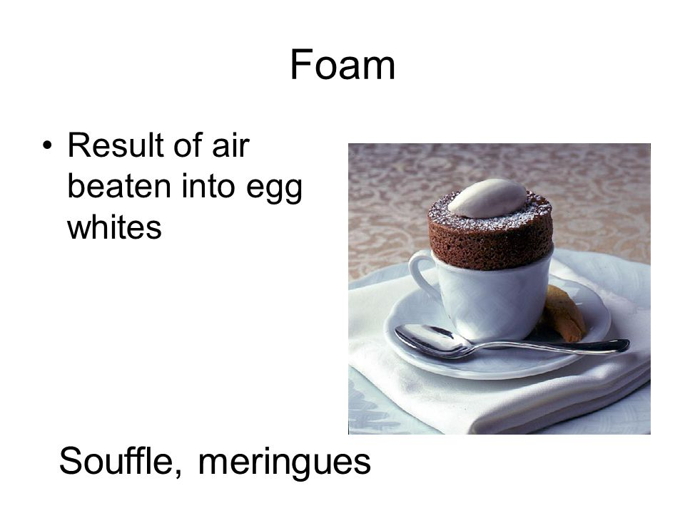 Foam Result of air beaten into egg whites Souffle, meringues