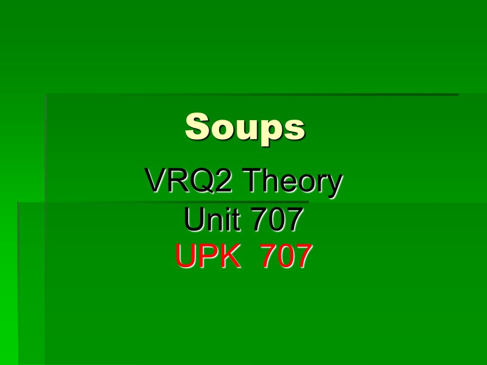 Thickened Passed Soups  These soups usually are comprised of a roux base, or farinaceous base to act as the thickener to suspend the liquidised ingredients, they can be divided into;  Puree  Cream  Velouté  Bisques  Brown Soups