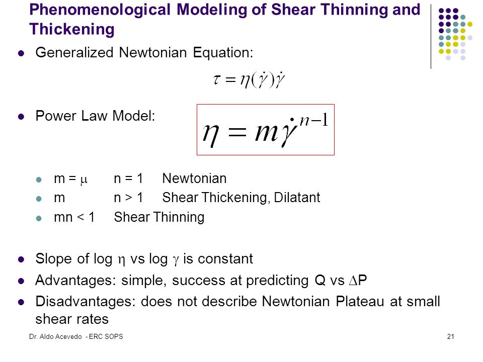 Phenomenological Modeling of Shear Thinning and Thickening Generalized Newtonian Equation: Power Law Model: m =  n = 1Newtonian m n > 1Shear Thickeni