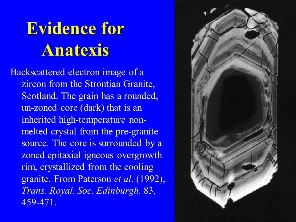 Evidence for Anatexis Backscattered electron image of a zircon from the Strontian Granite, Scotland.