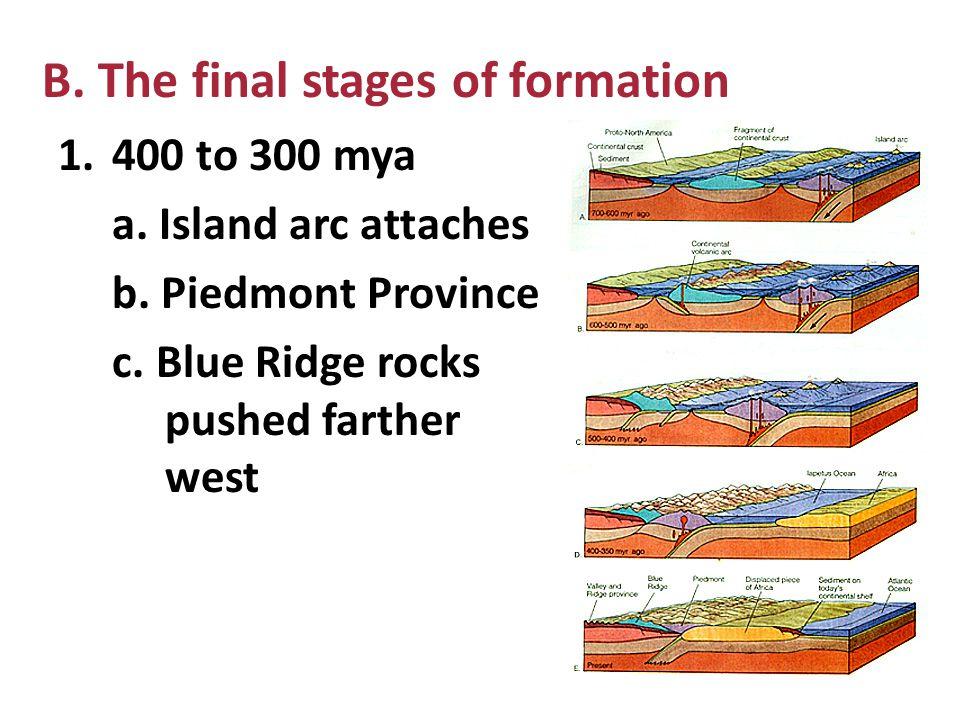 2. 700 to 600 mya a. Convergence b. Island arc east of North America 3. 500 – 400 mya a. continental fragment thrust over younger rocks b. Blue Ridge