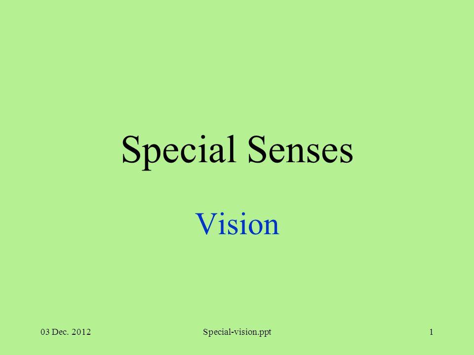 03 Dec. 2012Special-vision.ppt1 Special Senses Vision