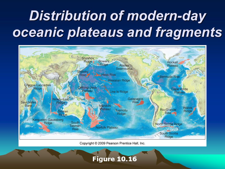 Distribution of modern-day oceanic plateaus and fragments Figure 10.16