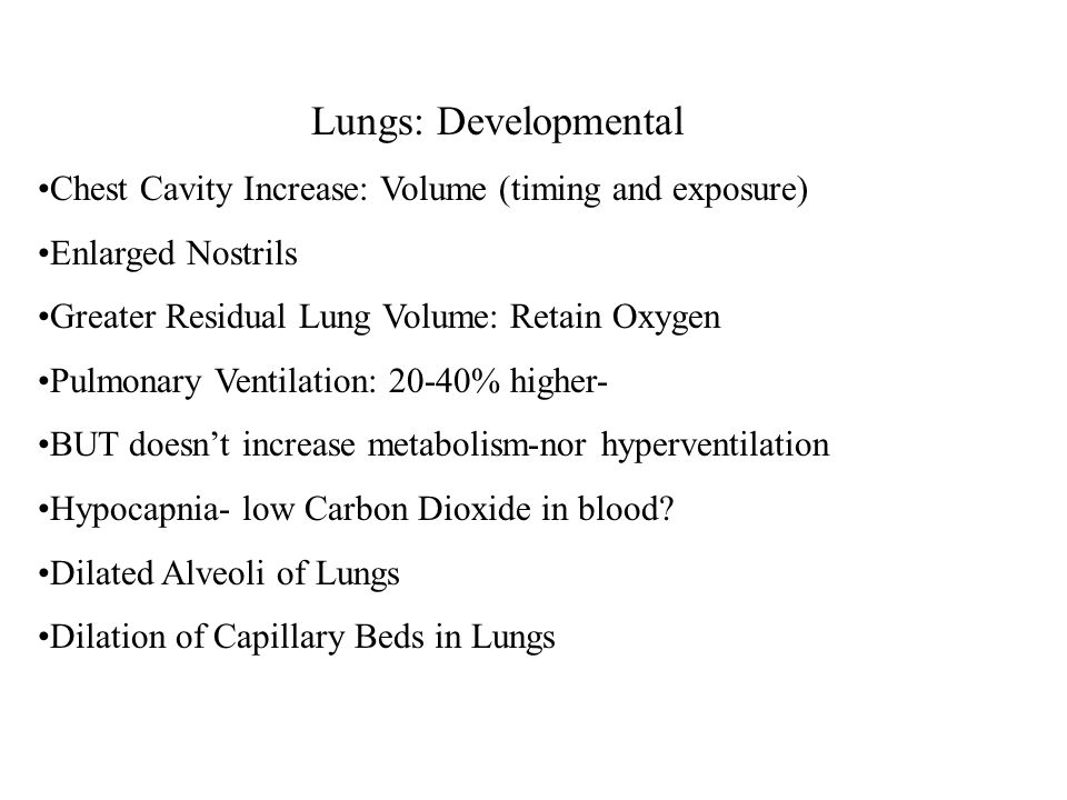 Lungs: Developmental Chest Cavity Increase: Volume (timing and exposure) Enlarged Nostrils Greater Residual Lung Volume: Retain Oxygen Pulmonary Ventilation: 20-40% higher- BUT doesn't increase metabolism-nor hyperventilation Hypocapnia- low Carbon Dioxide in blood.