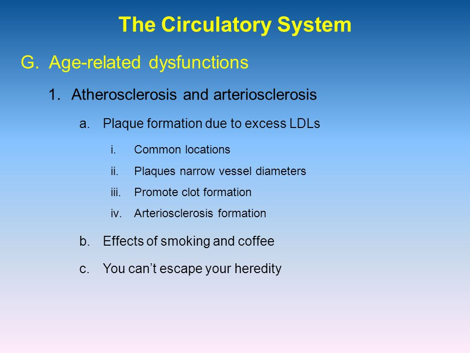 The Circulatory System 1.Atherosclerosis and arteriosclerosis G.