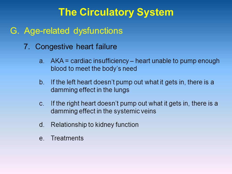 The Circulatory System 7.Congestive heart failure G.
