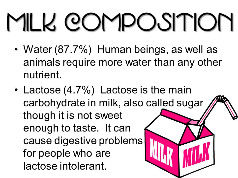 Water (87.7%) Human beings, as well as animals require more water than any other nutrient.