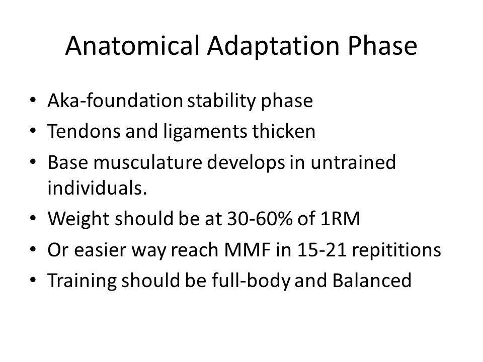 Anatomical Adaptation Phase Aka-foundation stability phase Tendons and ligaments thicken Base musculature develops in untrained individuals. Weight sh