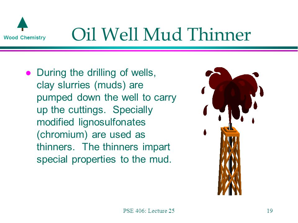 Wood Chemistry PSE 406: Lecture 2519 Oil Well Mud Thinner l During the drilling of wells, clay slurries (muds) are pumped down the well to carry up the cuttings.