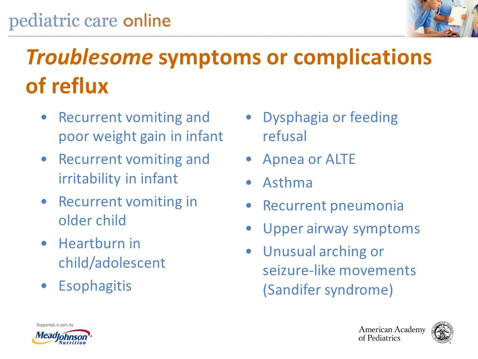 Troublesome symptoms or complications of reflux Recurrent vomiting and poor weight gain in infant Recurrent vomiting and irritability in infant Recurr