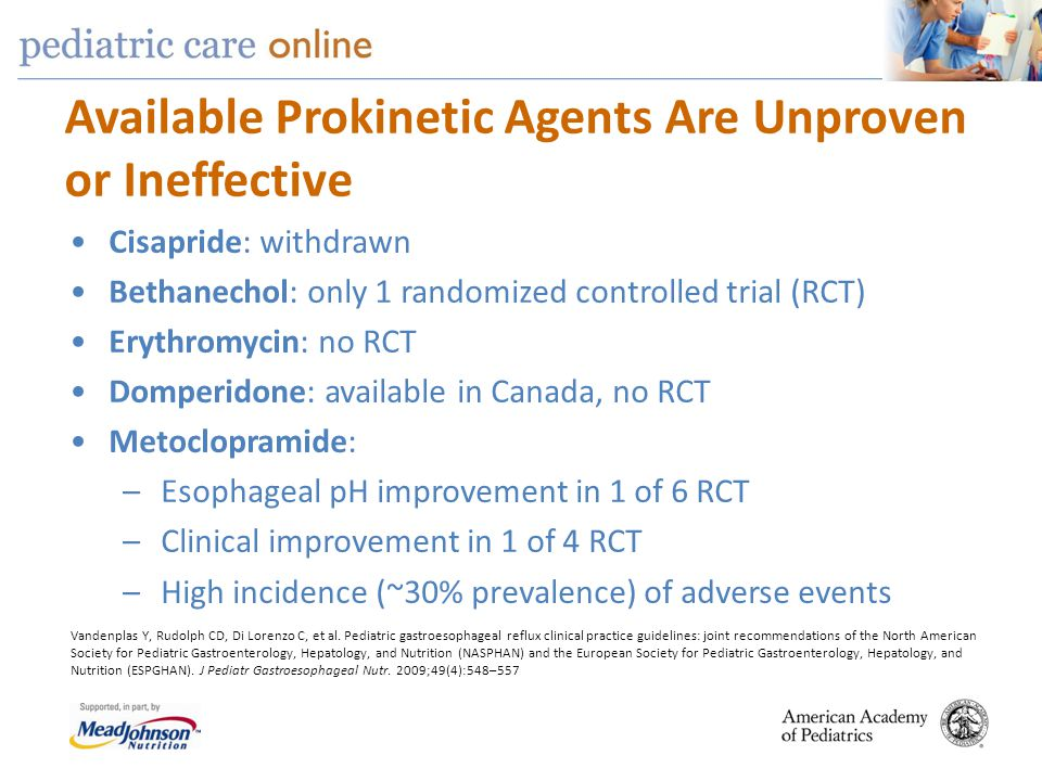 Available Prokinetic Agents Are Unproven or Ineffective Cisapride: withdrawn Bethanechol: only 1 randomized controlled trial (RCT) Erythromycin: no RC