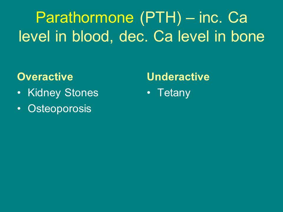 Parathormone (PTH) – inc. Ca level in blood, dec. Ca level in bone Overactive Kidney Stones Osteoporosis Underactive Tetany