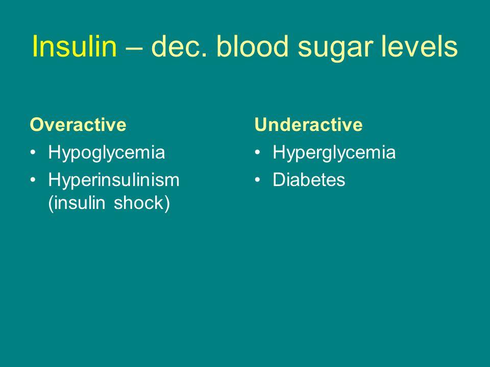 Insulin – dec. blood sugar levels Overactive Hypoglycemia Hyperinsulinism (insulin shock) Underactive Hyperglycemia Diabetes