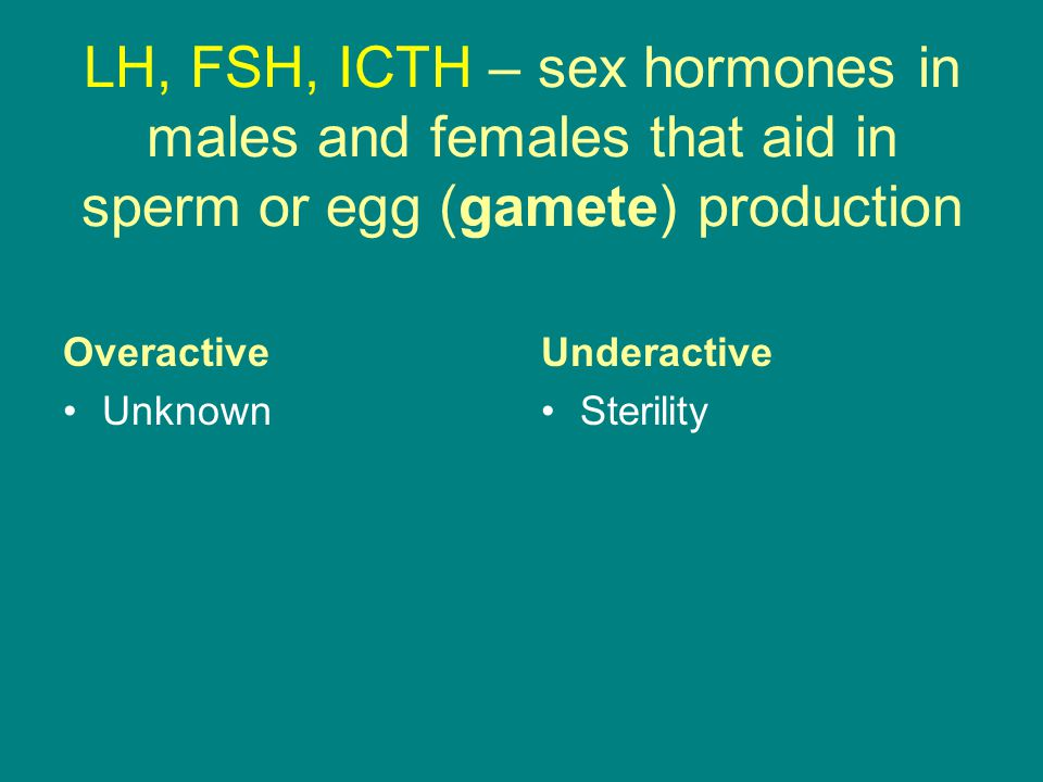 LH, FSH, ICTH – sex hormones in males and females that aid in sperm or egg (gamete) production Overactive Unknown Underactive Sterility