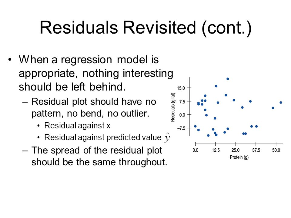 Residuals Revisited (cont.) When a regression model is appropriate, nothing interesting should be left behind. –Residual plot should have no pattern,