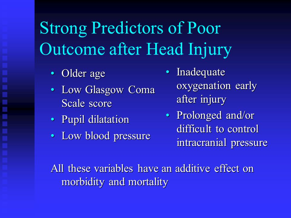 Strong Predictors of Poor Outcome after Head Injury Older ageOlder age Low Glasgow Coma Scale scoreLow Glasgow Coma Scale score Pupil dilatationPupil