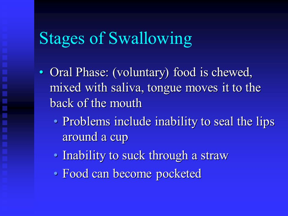 Stages of Swallowing Oral Phase: (voluntary) food is chewed, mixed with saliva, tongue moves it to the back of the mouthOral Phase: (voluntary) food is chewed, mixed with saliva, tongue moves it to the back of the mouth Problems include inability to seal the lips around a cupProblems include inability to seal the lips around a cup Inability to suck through a strawInability to suck through a straw Food can become pocketedFood can become pocketed